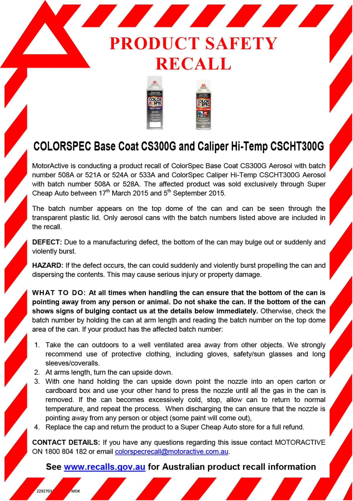 Product Recall Notice – ColorSpec